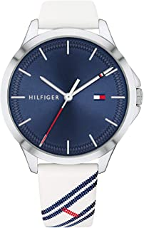 Tommy Hilfiger Women's Stainless Steel Quartz Watch with Leather Strap, White, 17 (Model: 1782089)