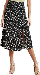 Floral Printed Split Hem Midi Skirt For Women Closet by Styli