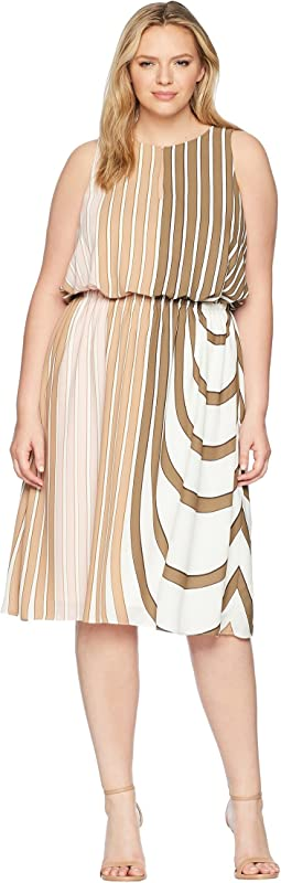 Plus Size Beta Stripe Printed Georgette Blouson Halter Midi Dress