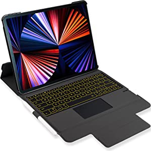 iPad Keyboard Case for iPad 2018 (6th Gen) - iPad 2017 (5th Gen) - iPad Pro 9.7 - Air 2&1 - Wireless/BT - Backlit 7 Colors - iPad Case with Keyboard for iPad OS 9.7 inch (Black)