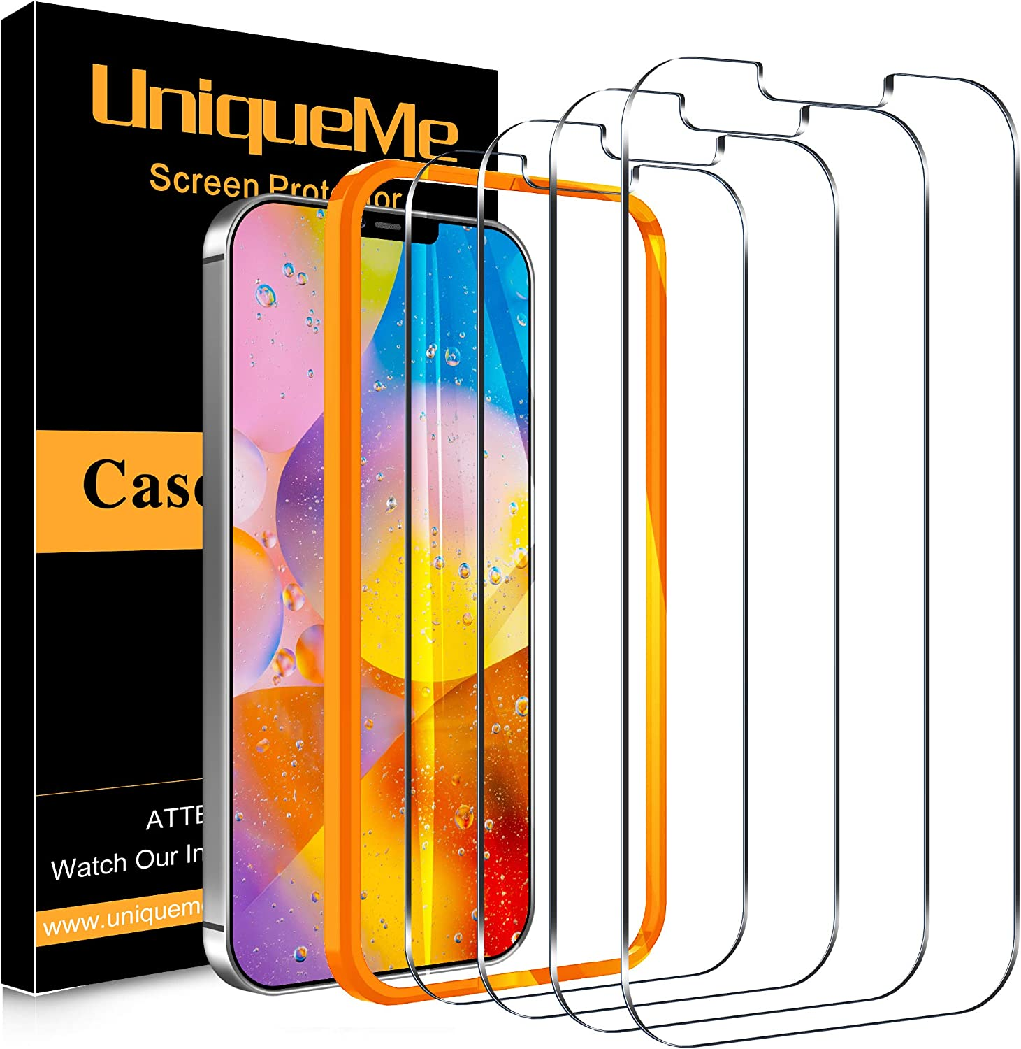 [4 Pack] UniqueMe Compatible with iPhone 12 / iPhone 12 Pro (6.1 inch) Screen Protector Tempered Glass, [Case Friendly] 9H Hardness [Alignment Frame Easy Installation][U-Shaped Cutout]