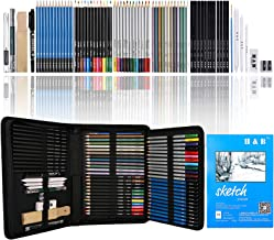H & B 72-Piece Colored Pencils Set, Drawing Pencils and Sketching Kit, Complete Artist Kit, Includes Graphite Pencils, Met...