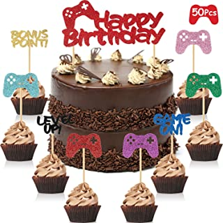 Blulu 50 Pieces Video Game Cake Topper Game Themed Cupcake Topper for Game Fans Party Favors Birthday Decorations