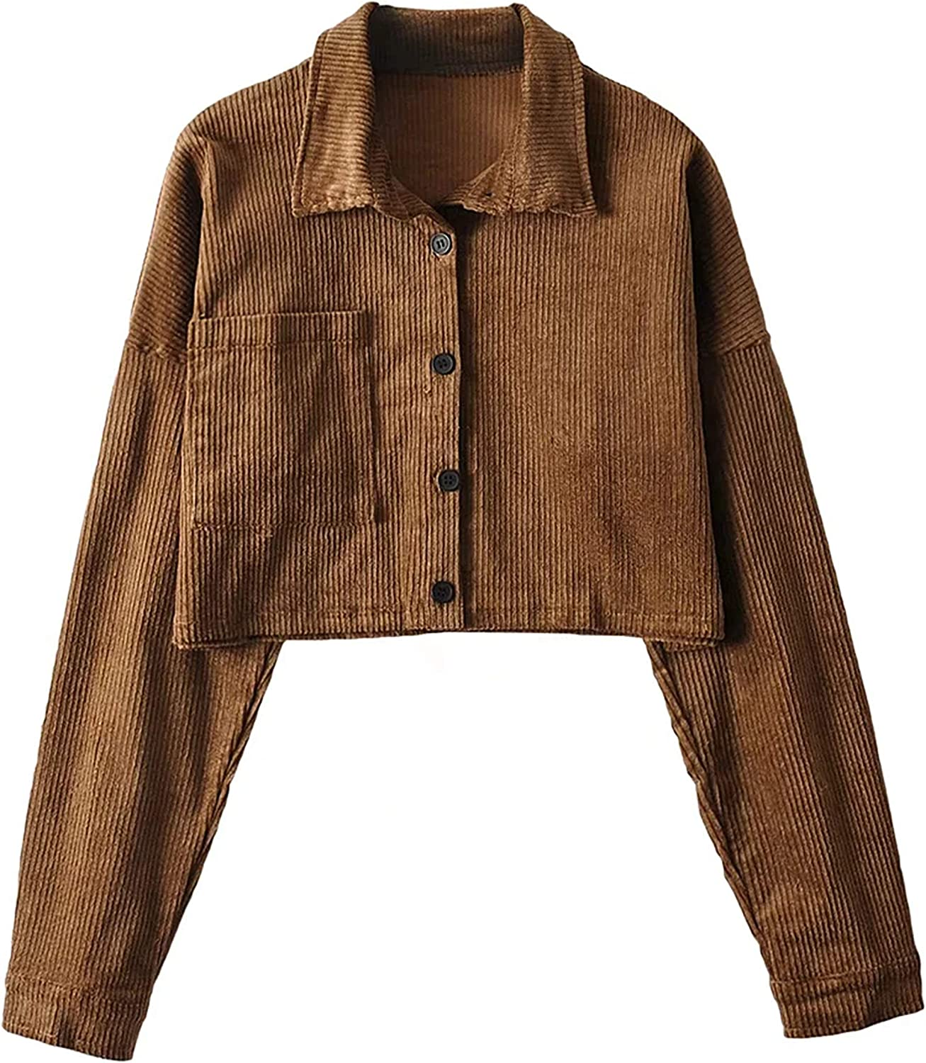 UANEO Womens Corduroy Button Down Long Sleeve Casual Cropped Jackets Shackets(Brown-M)