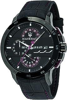 ساعة مازيراتي R8871619003 للرجال جلد أسود ومتعدد الوظائف