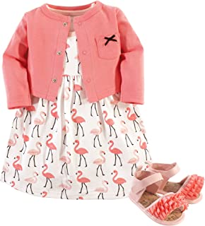 Hudson Baby Girls' Cotton Dress, Cardigan and Shoe Set