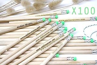 100 matite di legno con testo personalizzato, gruppo x100 matite, personalizzabile, per matrimonio, gomma di colore verde,...