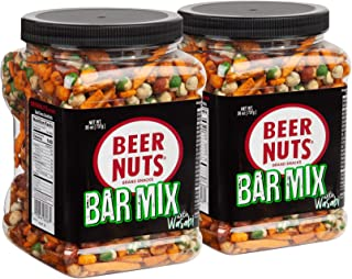 BEER NUTS Bar Mix with Wasabi - 26 oz Resealable Jar (Pack of 2), Original Peanuts, Wasabi Peas, Hot & Spicy Sesame Sticks...