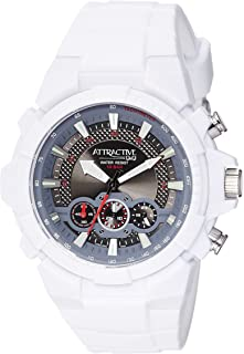Q&Q Men's Black Dial Silicone Band Watch - DA90J005Y