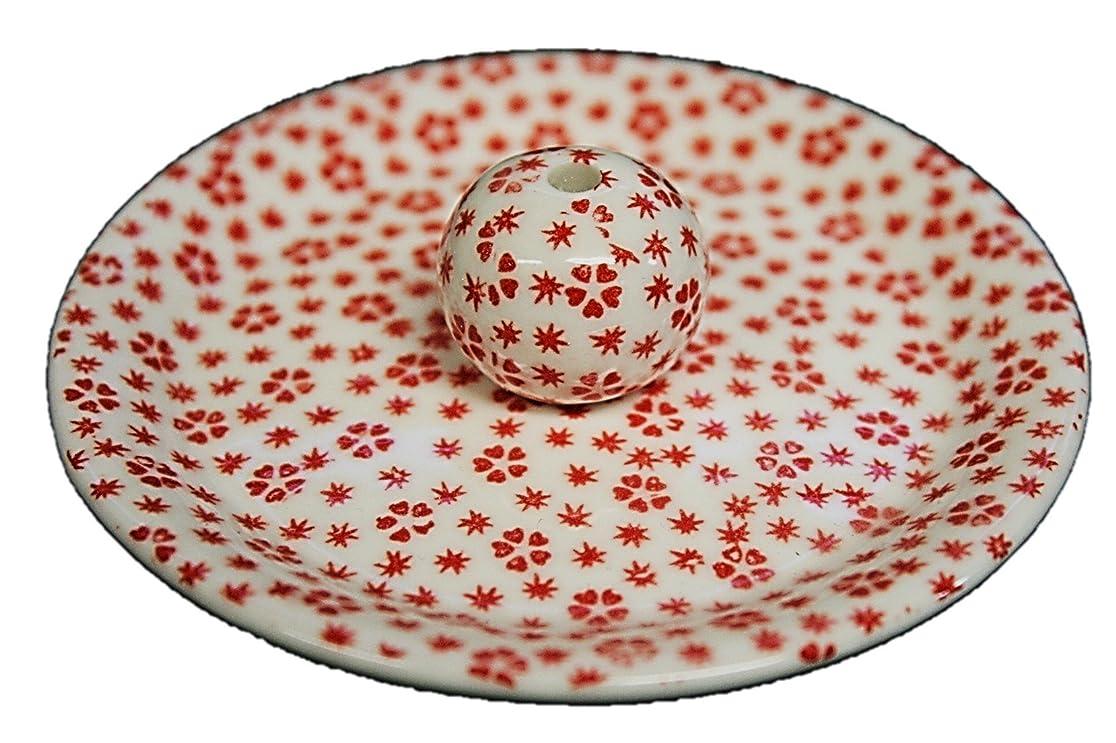 スラッシュお勧め服を片付ける9-40 桜小紋 赤 9cm香皿 お香立て お香たて 陶器 日本製 製造?直売品