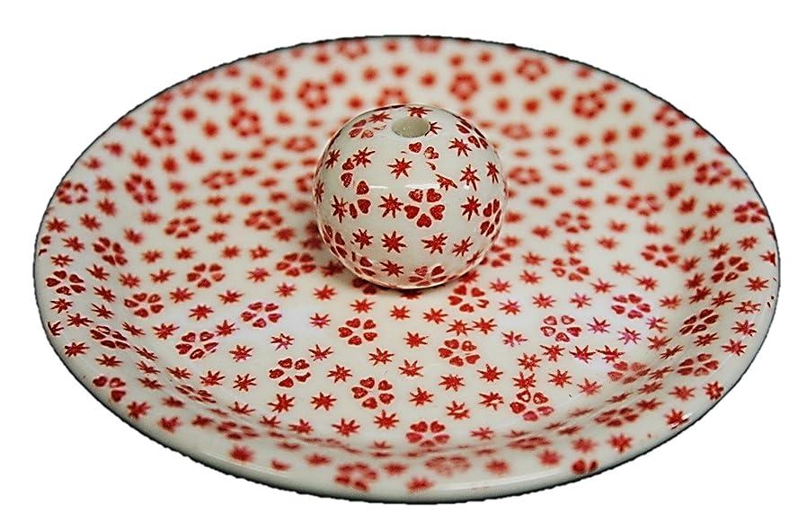 何提出するホテル9-40 桜小紋 赤 9cm香皿 お香立て お香たて 陶器 日本製 製造?直売品