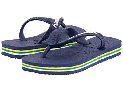 Havaianas Kids Brazil Logo Flip Flops (Toddler/Little Kid/Big Kid) (Navy Blue) Kid