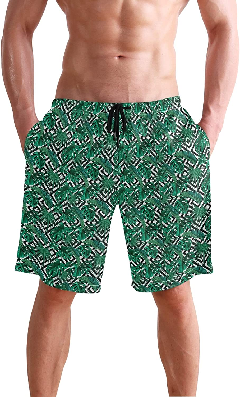 Palm Leaf Black and White Stripe Mens Swim Trunks Men's Sportwear Quick Dry Board Shorts with Mesh Linin S 20403136
