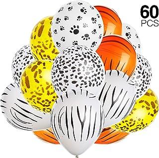 Gejoy 60 Piezas de Jungla Estampado de Animales Globos Jungla zoológico Animales Globo para la decoración del Partido