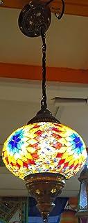 Nueva lampara turca para techo - un bola 18 cm x 65 cm de altura - metal y cristal