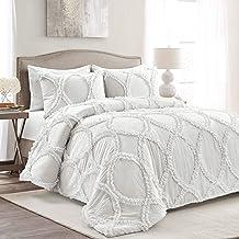 Lush Decor White Riviera 3-Piece Comforter Set, Luxury Bedding (King)