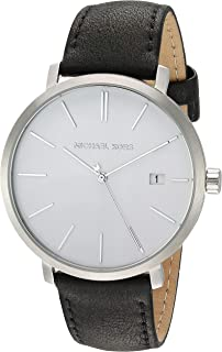 Men's Blake Stainless Steel Quartz Watch with Leather Strap