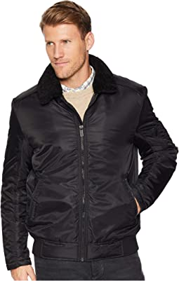 Zip Front Bomber with Faux Shearling Collar