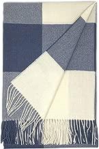 Alpaca Home | Cheeky Checks Alpaca Throw Blanket | 100% Baby Alpaca Wool | 6.6 Feet Long X 4.25 Feet Wide | Hypoallergenic, Soft & Cozy 78.75 Inches X 51 Inches including fringe Blue