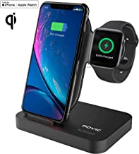 MOVIC 2 in 1 Qi-Wireless Fast Charging Station Pad for iWatch Series 1/2/3/4 iPhone 8/X/XS/XR, Samsung Galaxy and All Qi Enabled Devices MFi-Certified 2019 (Upgraded 2019)(Black)