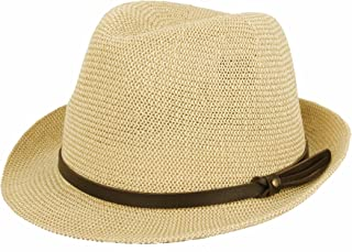 WITHMOONS Fedora Hat Summer Cool Paper Straw Trilby Band Men SL61057