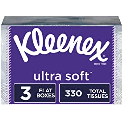 Kleenex Ultra Soft Facial Tissues, Flat Box, 110 Tissues per Box, 3 Pack (330 Tissues Total)
