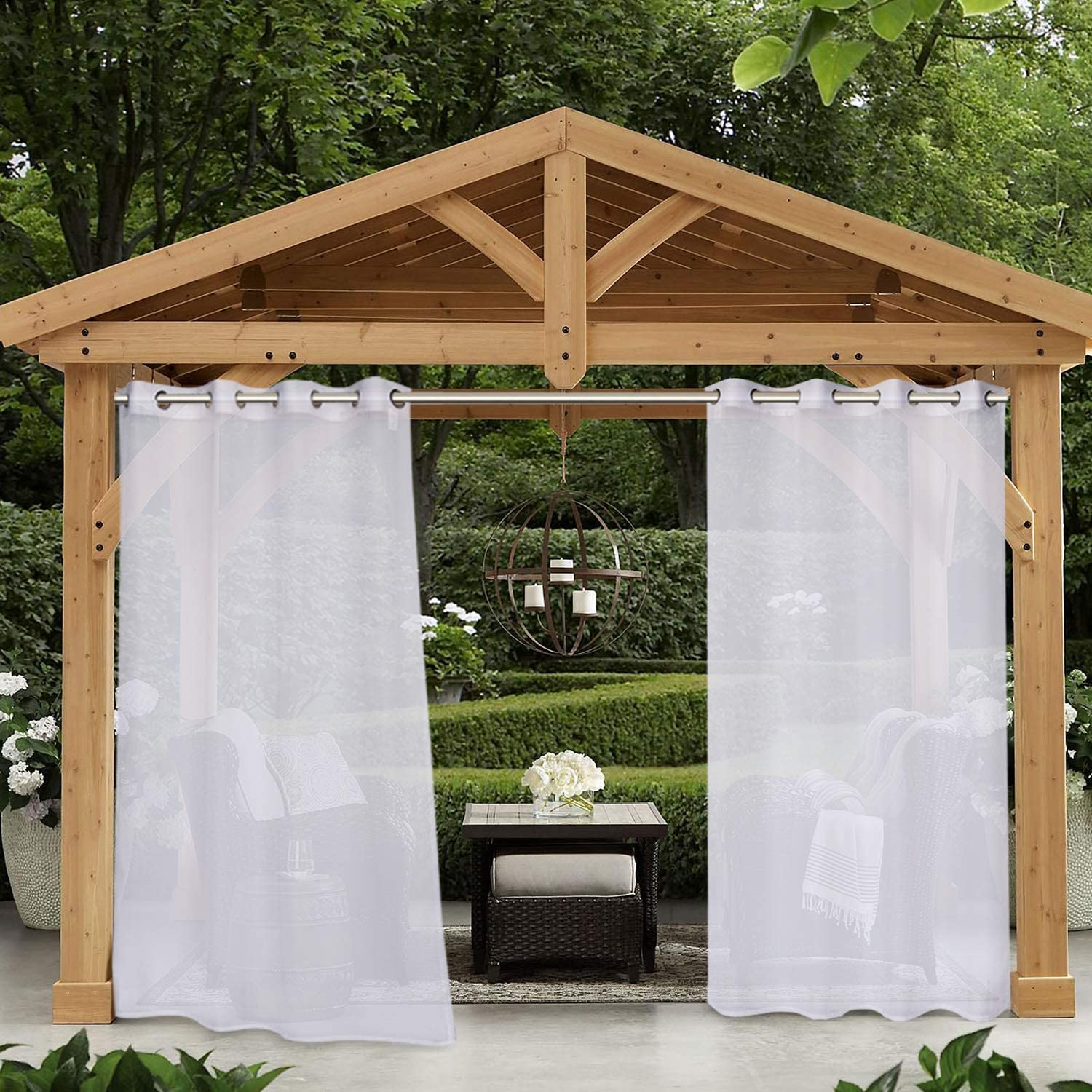 LUSHLEAF Cash special price Indoor Outdoor Sheer Sales results No. 1 Curtains Whi Waterproof Patio for