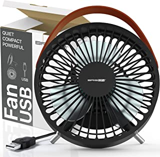 Computer Desk USB Fan Personal Electric Blow Cold Air Mini Fan - Powerful Airflow Small Quiet PC Desktop Ventilator - Table Fan - 2.5W Portable Air Circulator W/USB Port To Laptop Computer Power Bank