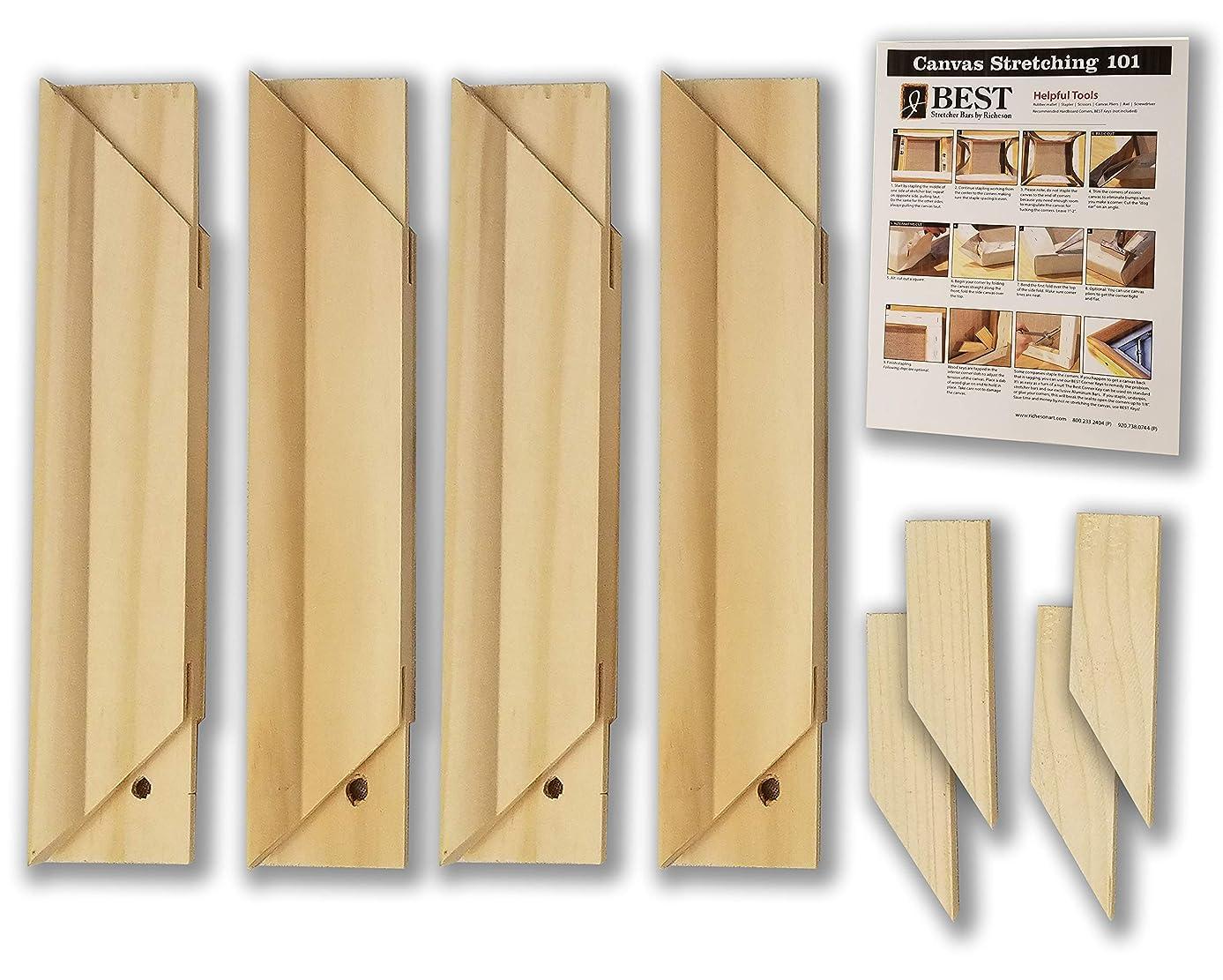 Stretcher Bar Bundle-Jack Richeson Medium Duty Stretcher Bars, 12 Qty 4; Wood Keys; Canvas Stretching 101 Guide (9 Items)