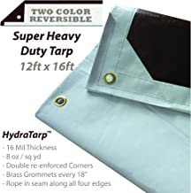 Watershed Innovations HydraTarp 12 Ft. X 16 Ft. Super Heavy Duty Waterproof Tarp - 16mil Thick - White / Brown Reversible Tarp