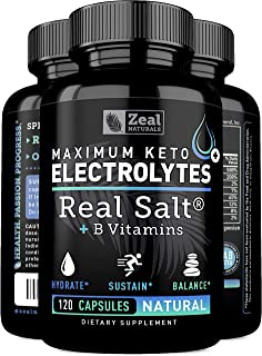 Keto Electrolyte Supplement (120 Capsules) Electrolyte Tablets w Real Sea Salt, B Vitamins, Magnesium and Potassium Supplements - Electrolyte Powder Salt Pills & Electrolyte Drink Hydration Tablets