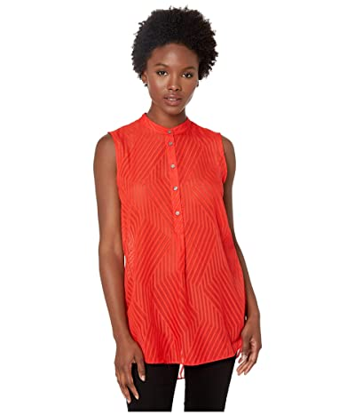 Vince Camuto Specialty Size Petite Sleeveless Blocked Stripe Jacquard Henley Tunic (Crimson Red) Women