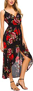 Womens Sleeveless V Neck Floral Rayon Party Split Maxi Romper Dress