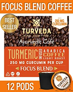 TURVEDA Turmeric Curcumin Infused Coffee Pods | 12ct Focus Blend Premium Coffee | Light Roast Functional 250mg Curcumin from Organic Turmeric Per Pod |Keto, Paleo, Whole30 | Compatible with K-Cup Brewers including 2.0