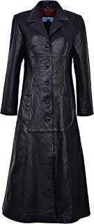 Trench Ladies Black Classic Full-Length Gothic Real Nappa Leather Jacket Coat 298