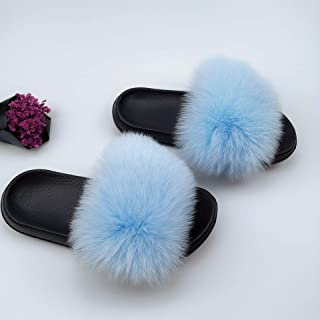 XRZY Raccoon Fur Hair Slipper, Faux Fluffy Plush Slip,Indoor Outdoor Women Ladies EVA Real Fox Fur Slippers Female Word Drag Sandals Multiple Styles Available