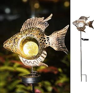 Garden Solar Lights Metal Fish Crackle Glass Globe Stake Lights SolarOutdoor Lights and Waterproof Metal Decorative for Lawn, Yard Art, Pathway, Patio Decor(Bronze) (Fish-Bronze)