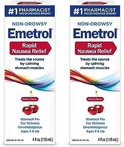Emetrol Nausea & Upset Stomach Relief Liquid Medication, Cherry - 4 oz Bottle, 2 Count