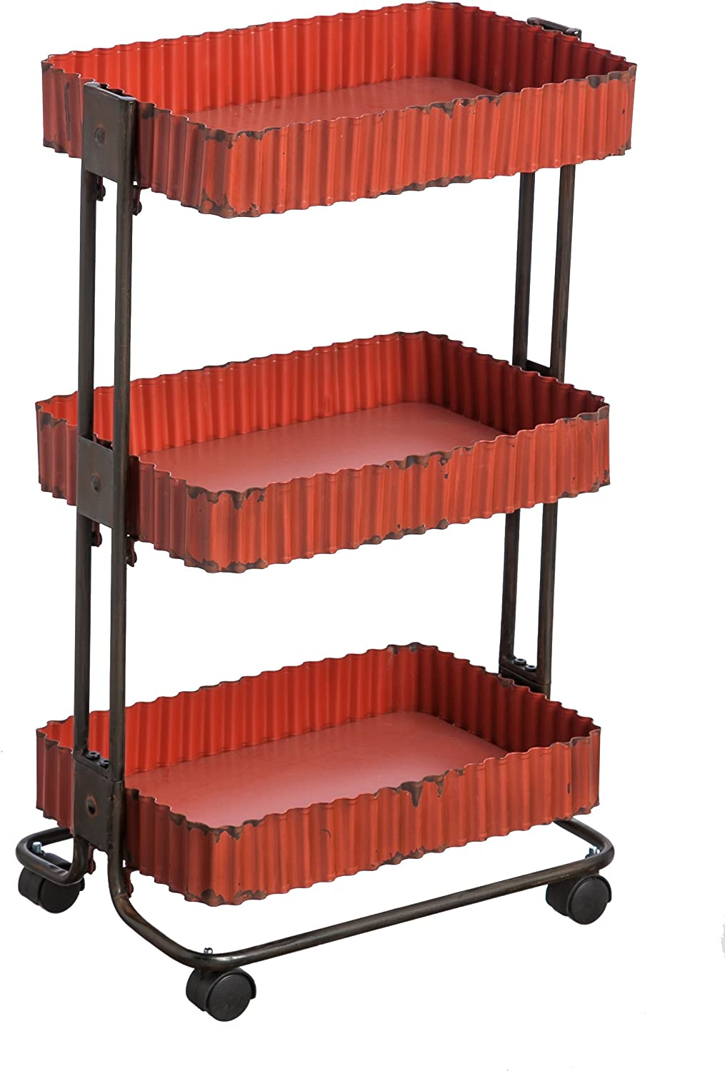 Cape Craftsmen Antique Red Corrugate Metal 3-Tier Cart with Wheels