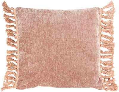 """Bloomingville 18"""" Square Polyester Tassel Sides Pillow, Brown"""