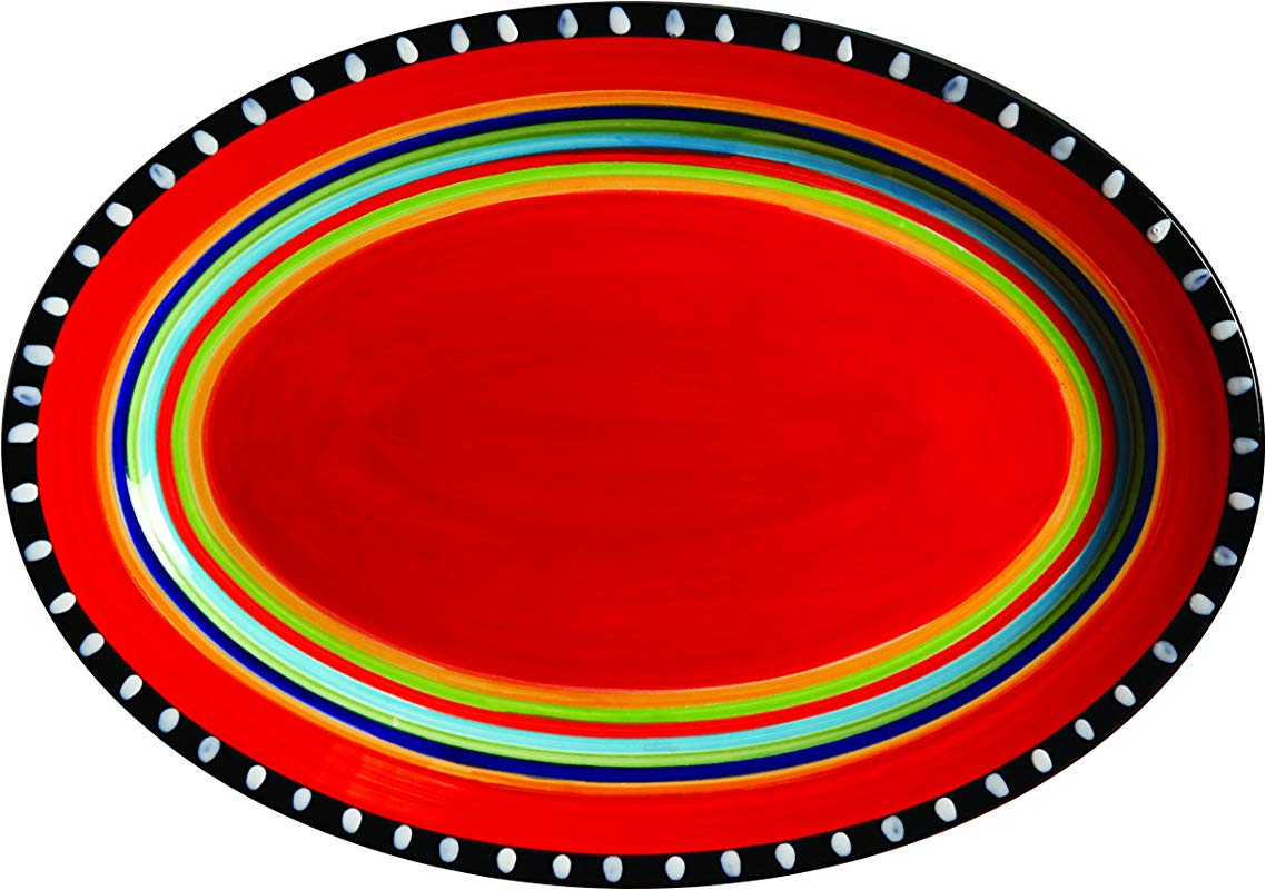 Gibson Elite 100899 01RM Pueblo Springs 14 Handpainted Oval Platter Multicolor