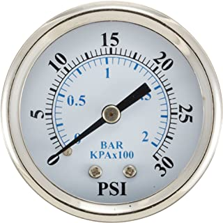 """PIC Gauge 102D-108E 1"""" Dial, 0/100 psi Range, 1/8"""" Male NPT Connection Size, Center Back Mount Dry Pressure Gauge with a B..."""