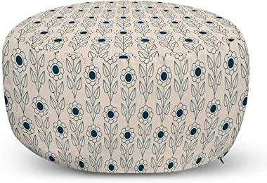 Lunarable Mid Century Ottoman Pouf, Monochrome Designed Flowers with Leaves on Vertical Lines Art Print, Decorative Soft Foot Rest with Removable Cover Living Room and Bedroom, Eggshell and Dark Teal