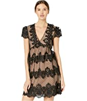 Cap Sleeve Empire Waist Lace Mini Dress