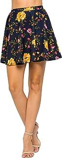 Junky Closet Women's Basic Stretchy Flared Casual Mini Skater Skirt