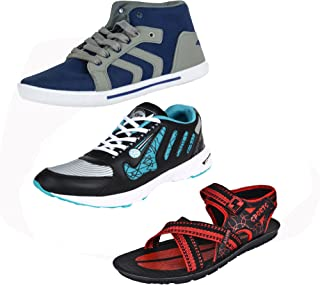 Earton Men Combo Pack of 3 Casual Shoes with Sports Shoes & Sandals