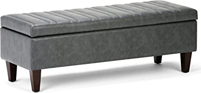 Simpli Home Monroe 48 inch Wide Rectangle Lift Top Storage Ottoman in Slate Grey Tufted Faux Leather with Large Storage Space for the Living Room, Entryway, Bedroom, Contemporary