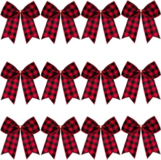 12 Pieces Christmas Plaid Bows Buffalo Plaid Decorative Bows Christmas Decorative Plaid Bows for Christmas Wreaths Tree Home Party Indoor Outdoor Decoration (Red and Black Plaid)