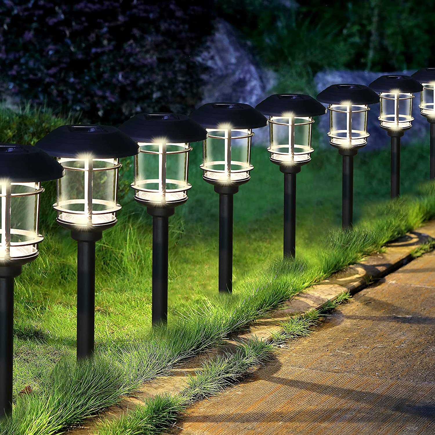 Solar Pathway Lights Outdoor, 8 Pack Bright Solar Powered Yard Lights, IP65 Waterproof Auto On/Off LED Solar Landscape Lights for Lawn, Garden, Path, Walkway or Patio,Yard and Driveway