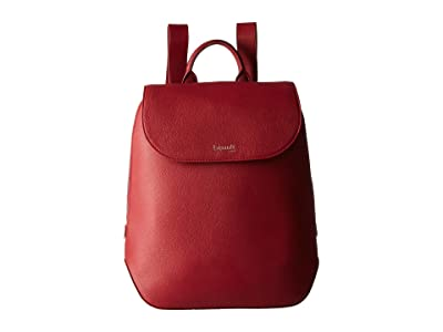 Lipault Paris Plume Elegance Leather Small Backpack (Ruby) Backpack Bags